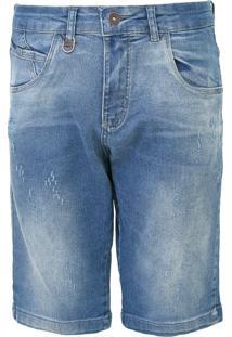 Bermuda Jeans Rock&Soda Reta Destroyed Azul