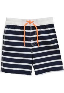 Bermuda Gap Infantil Listrada Branco/Azul-Marinho
