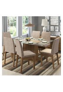 Conjunto Sala De Jantar Madesa Melissa Mesa Tampo De Vidro Com 6 Cadeiras Marrom