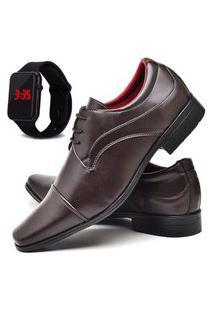 Sapato Social Masculino Asgard Com Relógio Led Db 832Lbm Marrom