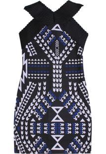 Vestido Elastico Authoria Estampa Azul Royal - Feminino