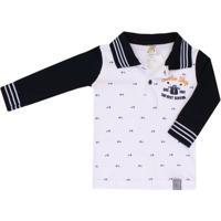 3335e1dc75 Camiseta Polo Bebê Pulla Bulla - Masculino-Branco