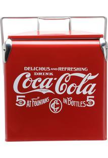 Cooler Aço Inox Coca-Cola Delicious Drink Vermelho 29,5X23,5X35,5 Cm 13 Litros Urban
