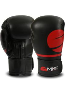 0b88d76b5 Luva Mks Combat Boxe Muay Thai Kickboxing Pro Preto Vermelho