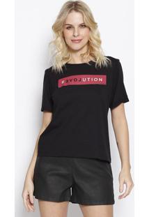 """Camiseta """"Revolution"""" Com Amarraã§Ã£O - Preta & Vermelha"""