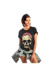 Camiseta Feminina Mirat Metal Hipster Skull Preto