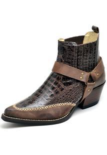 Botina Fidalgo Boots Couro Crazy Horse Jacare Cor Café Sola Colorplac
