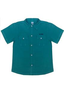 Camisa Look Jeans Bolsos Collor - Verde - Menino - Dafiti