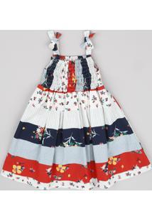 Vestido Infantil Estampado Patchwork Com Laço Alça Fina Kaki Claro