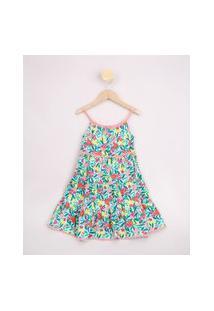 Vestido Infantil Estampado Floral Babado Alças Finas E Renda Verde Claro