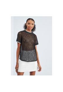 T-Shirt Reta Com Renda Lança Perfume Camiseta Preto