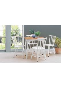 Sala De Jantar Pequena Com Mesa E 4 Cadeiras Mimo 80Cm Verniz Jatobá E Laca Branco