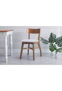 Cadeira De Mesa De Jantar Estofada Bella - Amêndoa E Bege Tec. A110 - 44X51X82 Cm