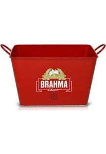 Balde De Gelo Para Cerveja Retangular Brahma Chopp Em Aço 8288