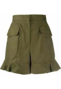 Alexander Mcqueen Short Cintura Alta Com Babados - Verde