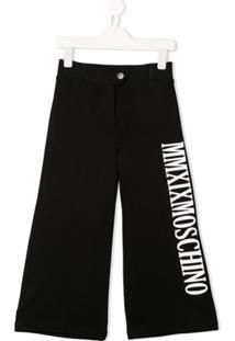 Moschino Kids Calça Pantalona Com Estampa De Logo - Preto