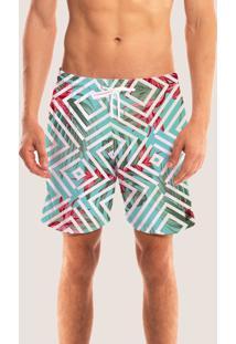 Bermuda Short Praia Masculino Moreana Com Bolsos Estampado Verde