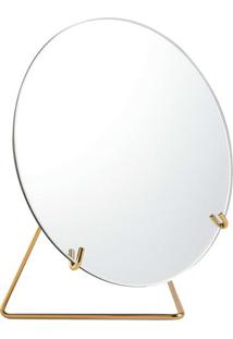 Espelho Com Suporte- Espelhado & Dourado- 22Xø20X10,Mart
