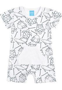 Body Banho De Sol Bebê Kamylus Animais Marinhos - Masculino-Branco