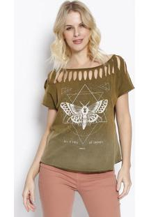 "Camiseta ""Energy"" Com Destroyed- Verde Militar & Off Whisommer"