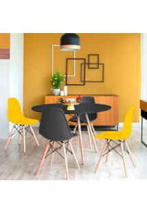 Conjunto De Mesa De Jantar Com 4 Cadeiras Eames Eiffel Premium Preto E Amarelo