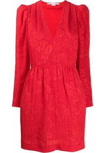 Stella Mccartney Vestido De Tricô Com Brocado Floral - Vermelho