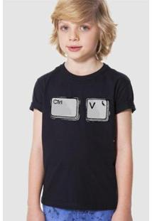 Camiseta Infantil Ctrl V Reserva Mini Masculina - Masculino-Preto