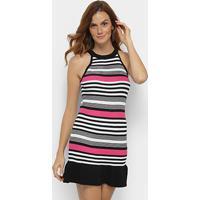 d5392ba226 Vestido Forwhy Peplum Curto Tricot Listrado - Feminino-Preto+Pink