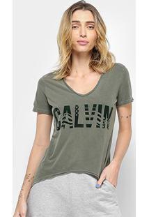Camiseta Calvin Klein American Feminina - Feminino-Oliva