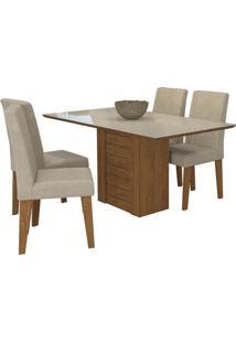Sala De Jantar Rafaela 130 Cm Com 4 Cadeiras Savana/Off White Sued Bege