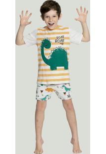 Pijama Menino Estampa Brilha No Escuro Cinza