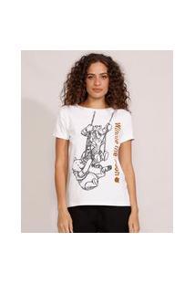 Camiseta Feminina Manga Curta Ursinho Pooh E Amigos Flocada Decote Redondo Branca