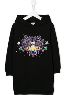 Kenzo Kids Vestido Com Bordado 'Tiger Star' - Preto