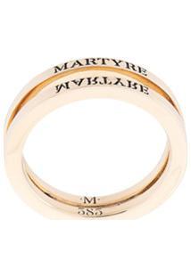 Martyre Anel Duplo Com Logo Gravado - Dourado