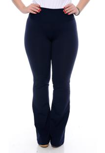 Calça Slim Fashion Plus Size Modeladora Flare Marinho
