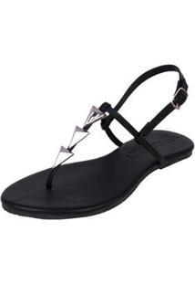 Rasteira Flat Pirâmide Mercedita Shoes Confortável Dia A Dia Casual Feminina - Feminino-Preto