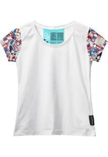 Camiseta Baby Look Feminina Manga Curta Algodão Estampa Moda - Feminino-Branco