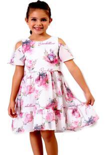 Vestido Infantil Bambollina Chiffon Estampado