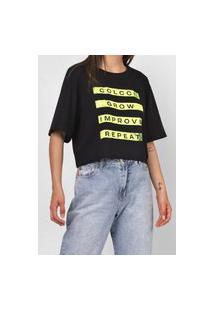 Camiseta Cropped Colcci Lettering Preta