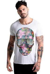 Camiseta Corte À Fio Joss Caveira Flores Colorida Branca
