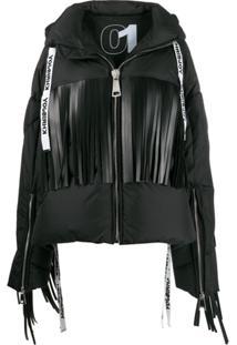 Khrisjoy Fringed Oversized Puffer Jacket - Preto