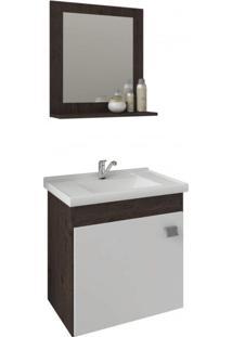 Gabinete Para Banheiro Com Cuba E Espelheira 1 Porta 1 Prateleira Íris Mgm Móveis Carvalho/Branco