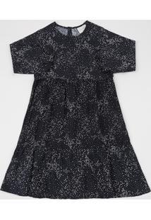Vestido Infantil Estampado De Poá Manga Longa Preto