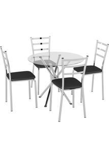 Conjunto Mesa Tampo Vidro C/ 4 Cadeiras Vinil Preto/Cromado Pozza - Preto - Dafiti