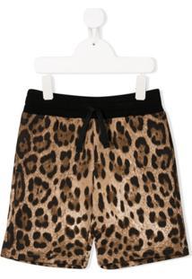 Dolce & Gabbana Kids Short Com Estampa De Leopardo - Marrom