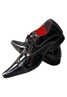 Sapato Masculino Italiano Oxford Em Couro Art Sapatos Preto Brilhante