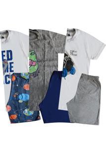 Kit 3 Pijamas Manga Curta Juvenil Sortido Menino