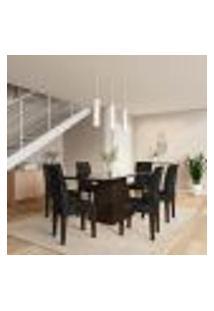 Conjunto De Mesa De Jantar Beatriz Ii Com Vidro E 6 Cadeiras Grécia Suede Castor E Preto