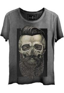 Camiseta Feminina Estonada Corte A Fio Skull Barber