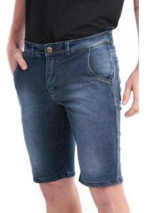 Bermuda Jeans Slim 5 Bolsos Com Elastano Masculina - Masculino-Azul Escuro